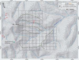 Karte von 2012 mit Gold Anomalien am Huot Gulch
